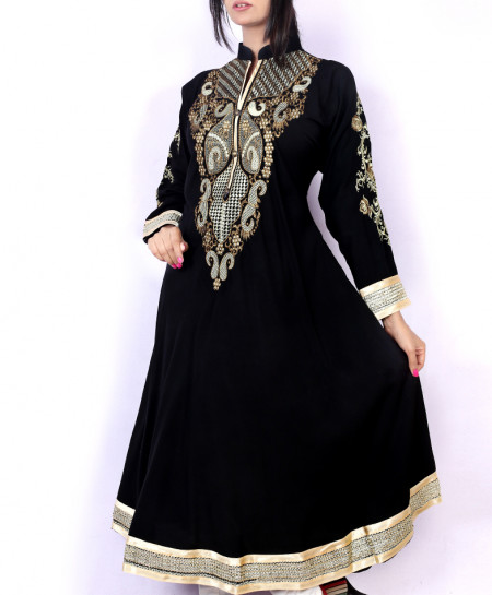 Black Front Embroidered Stylish Ladies Kurti KC-3475
