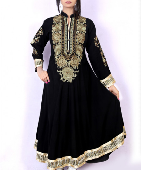 Black Front Embroidered Stylish Ladies Kurti KC-3476