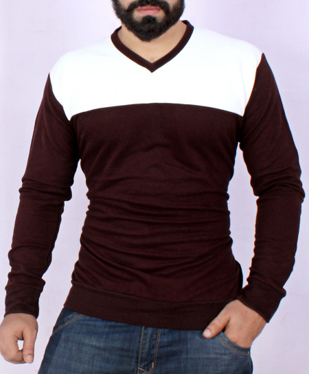 Two Tone Stylish White Choco Brown Sweat Shirt MWS-055