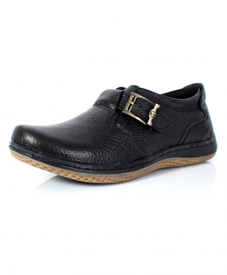 Black Leather Side Buckle Stylish Shoes NCP-024