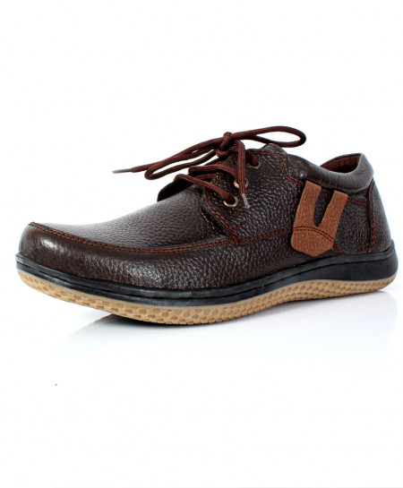 Choco Brown Leather Stylish Laces UP Shoes NCP-020
