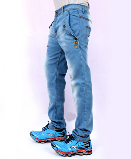 Sky Blue Drop Crotch Stylish Jeans QZS-173