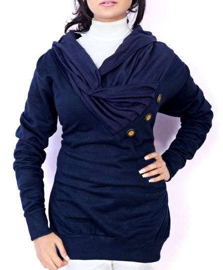 Navy Platted Button Neck Ladies Fleece Pullover FS-2561