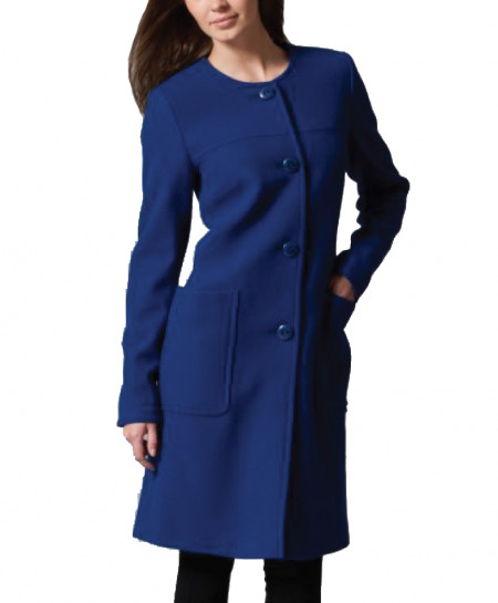 Navy Blue Ladies Winter Fleece Long Coat SIK-013