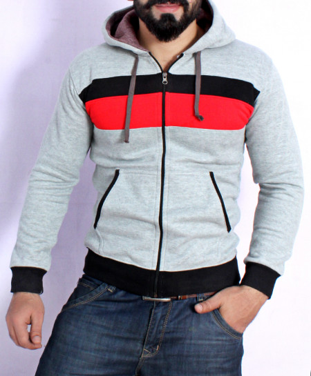 Heather Grey Panel Style Hoodie FSL-072