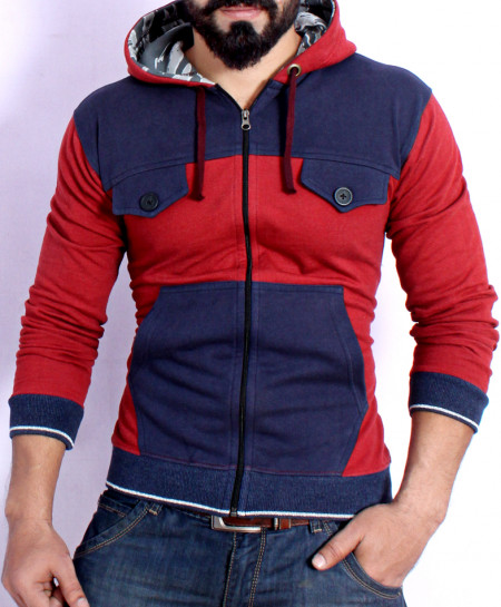 Red With Blue Fleece Stylish Hoodie FSL-075