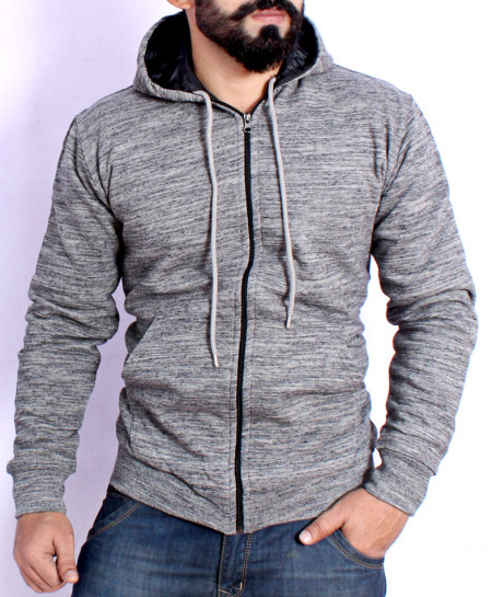 Grey Fleece Quilted Hoodie FSL-080