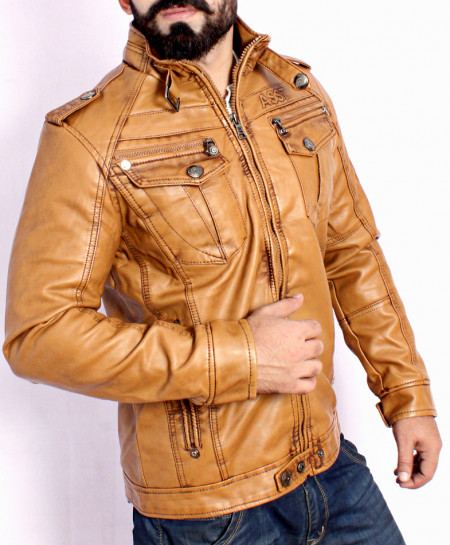 Mustard Inner Fur Hooded Leather Jacket BJ-1178