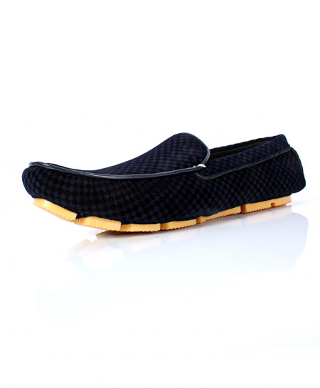 Navy Blue Block Stitched Design Loafer Shoes AK-1003