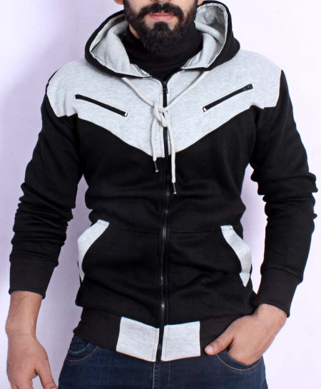 Black Grey Panel Zipper Fleece Fashion Hoodie FS-2563