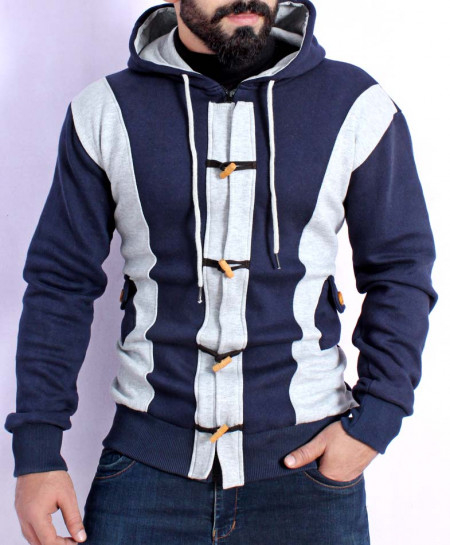 Celio Loop Navy Grey Zipper Fleece Hoodie FS-2564