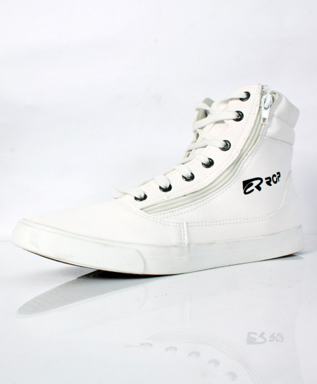 White Side Zipper High Ankle Sneakers SC-56