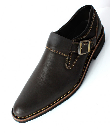 Brown Leather Side Buckle Style Shoes MS-004