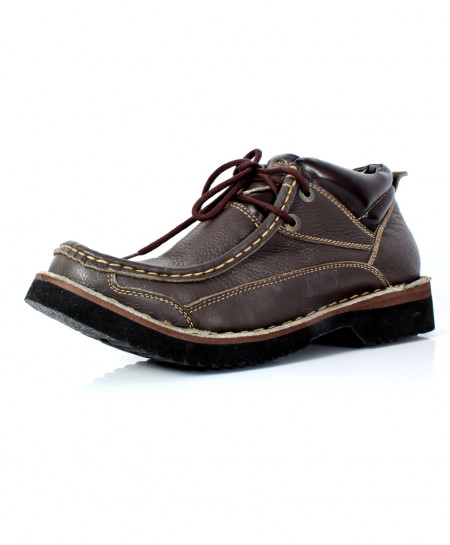 Brown Leather Lace Up Stylish Shoes MS-011