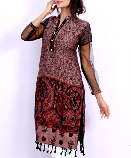 Lilac Front Back Embossed Stylish Ladies Kurti ARB-3116