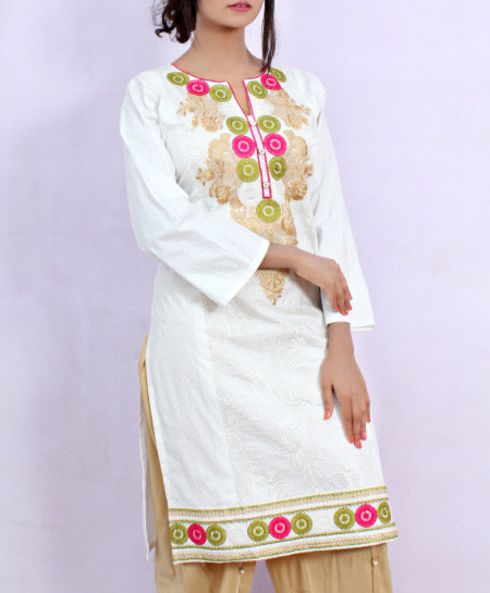 White Front Embroidered Stylish Ladies Suit NM-1015