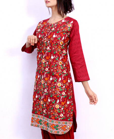 Red Front Embroidered Stylish Ladies Suit NM-1016