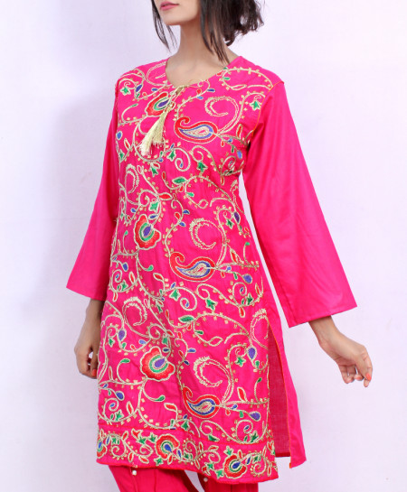 Pink Front Embroidered Stylish Ladies Suit NM-1017