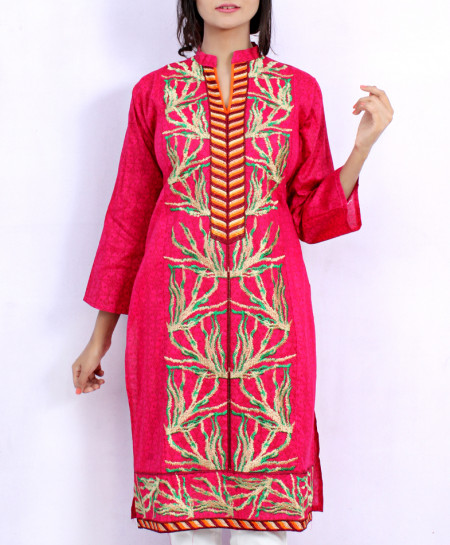 Pink Front Embroidered Stylish Ladies Kurti NM-1021