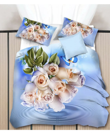 5D Sky Blue Floral Cotton Satin Bedsheet HD-1089