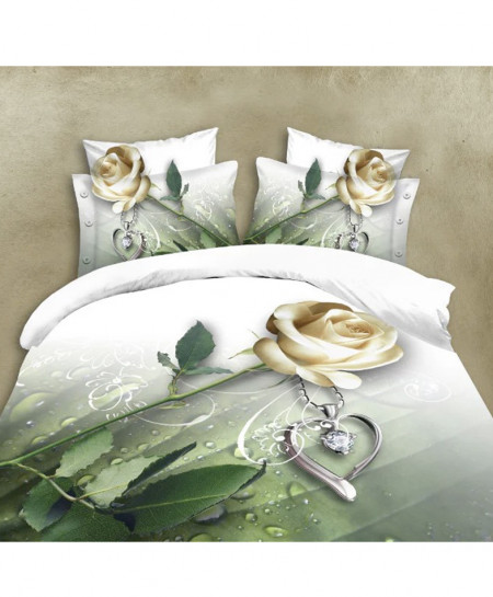 5D White Floral Cotton Satin Bedsheet HD-1095