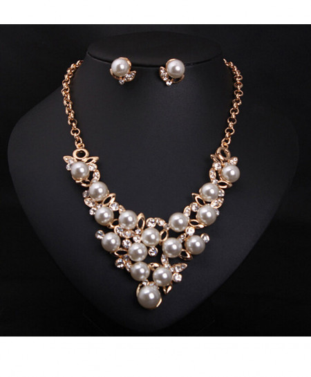 Simulated Pearl Jewelry Cavicle Necklace Set Emo-33