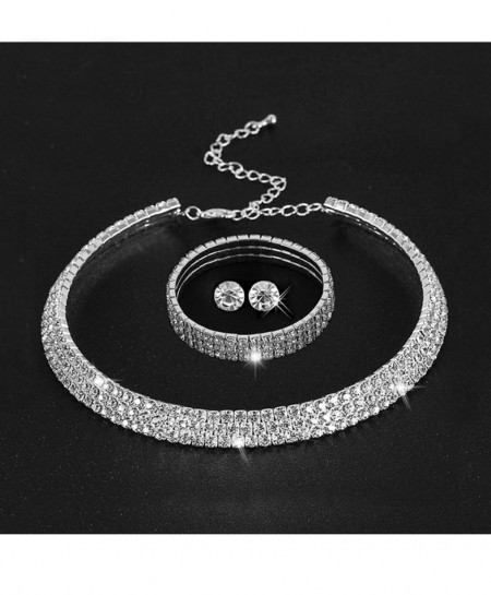Rhinestone Crystal Choker Necklace Jewelry Set Emo-35