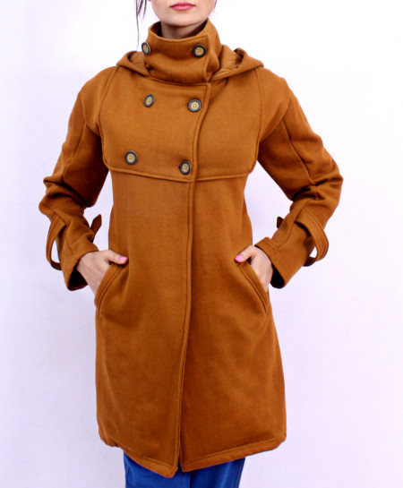 Brown Buttoned Up Ladies Fleece Mock Pullover FS-2565