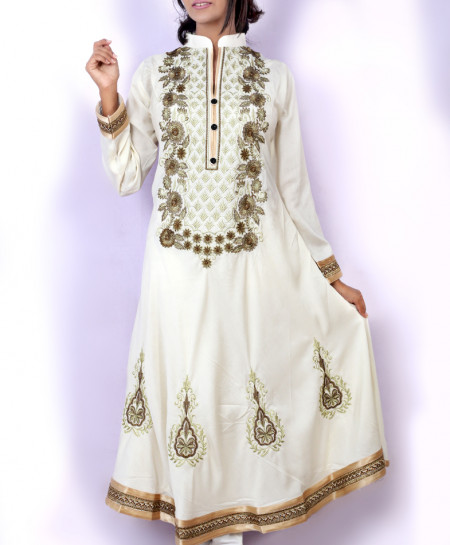 White Front Embroidered Stylish Ladies Kurti KC-3478
