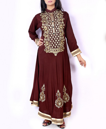 Brown Front Embroidered Stylish Ladies Kurti KC-3479