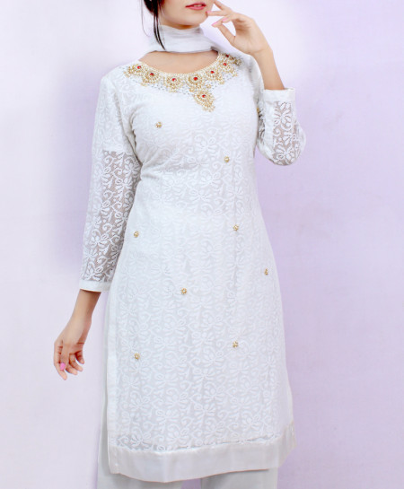 Creamy White Embroidered Stylish Ladies Suit ARB-3376
