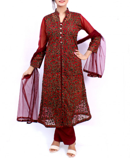 Maroon Embroidered Stylish Fancy Ladies Suit ARB-3377
