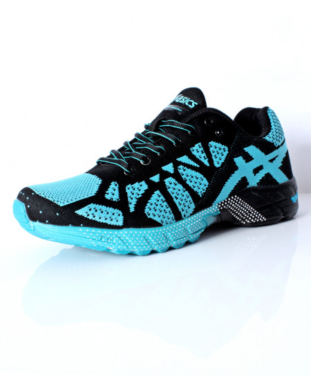 Black Blue Stitched Design Sports Shoes DR-366