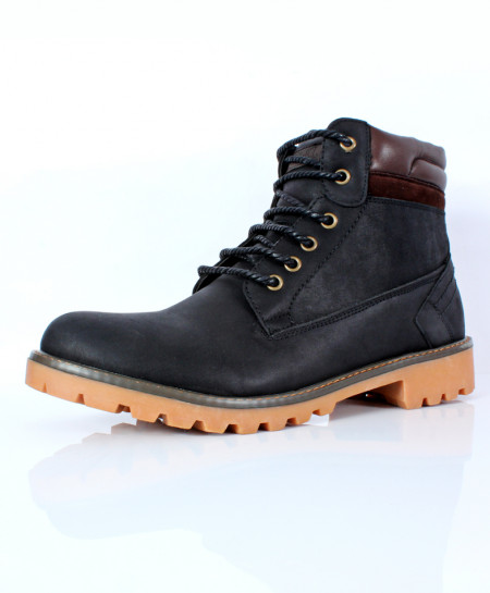 Black Brown Stitched Design Casual Boots CR-2726