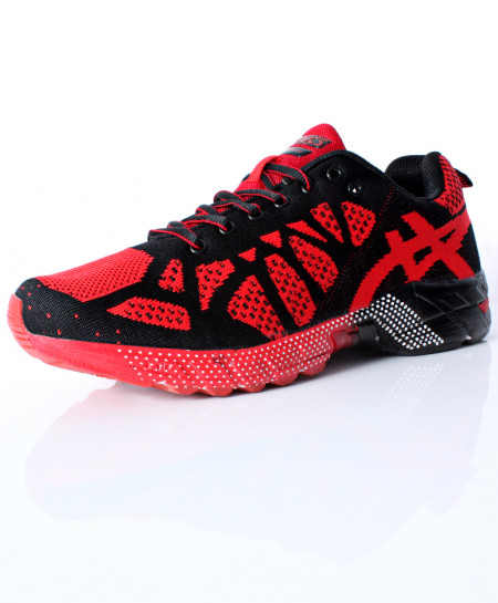 Black Red Stitched Design Sports Shoes DR-369