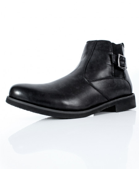 Black Side Buckle Stitched Design Casual Boots CR-2728