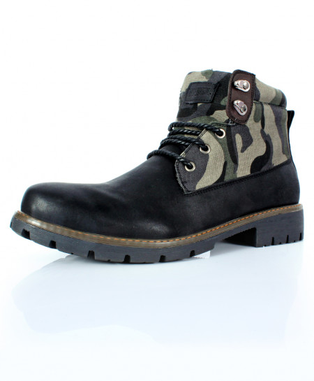 Black Camouflage Design Casual Boots CR-2729