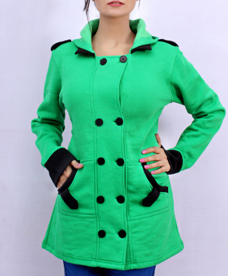 Green Women Winter Fleece Coat MR-002