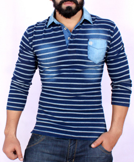 Indigo Pocket Rugby Shirt SF-011