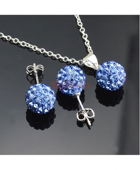 Shamballa stud Earrings Necklace Set Emo-37