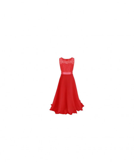Soft Red Stylish Plain Maxi AM-266