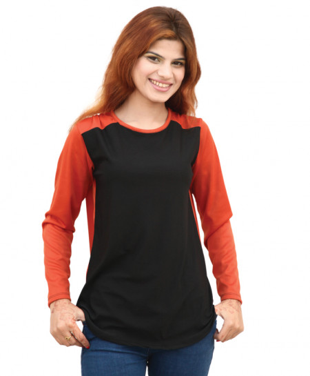 Black And Orange Stylish Ladies Top SF-033