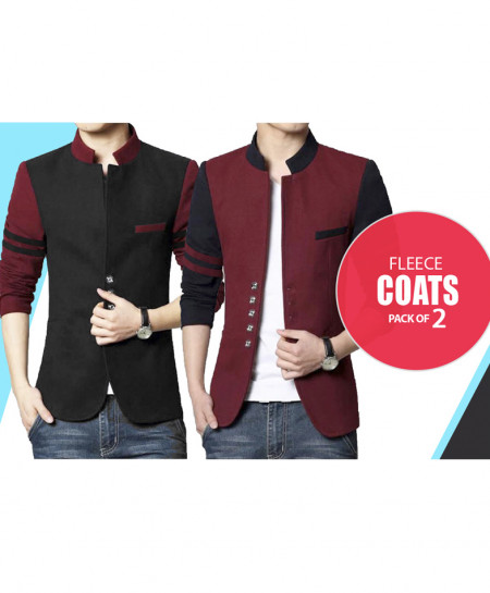 Pack of 2 Mens Button Fleece Coat GK-687