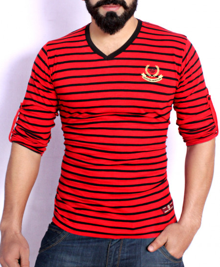Red And Black Striper V Neck Full Sleeve T-Shirt SF-040