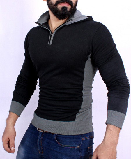Black Fleece Olive Green Rib Mock Neck Hoodie SF-043