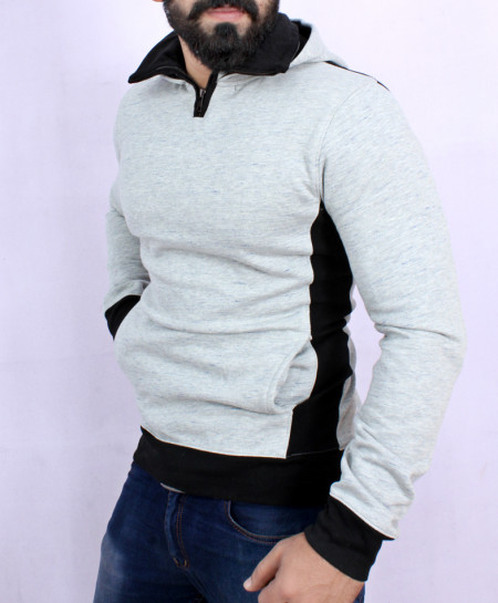 Heather Grey Fleece Black Rib Mock Neck Hoodie SF-044