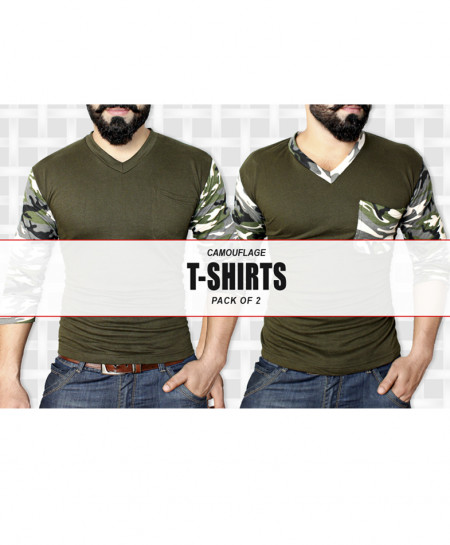 Pack Of 2 Camouflage Full Sleeves T-Shirts PW-733