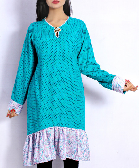 Aqua Polka Dotted Diamante Style Ladies Kurti VRJ-2750