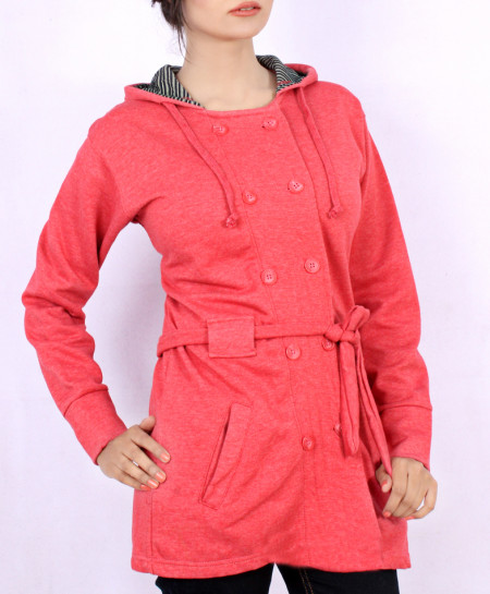 Pink Fleece Woman Winter Coat QZS-097
