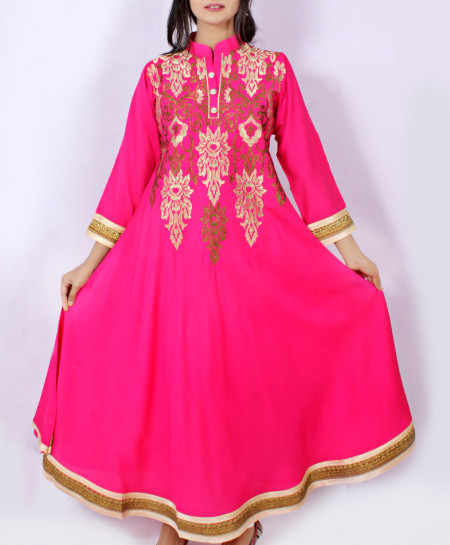 Shocking Pink Embroidered Stylish Long Kurti KC-3550